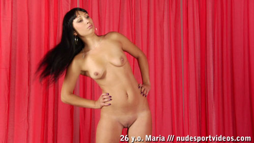 Side-bending long-haired naked sports babe